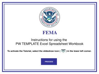 Instructions for using the  PW TEMPLATE Excel Spreadsheet Workbook