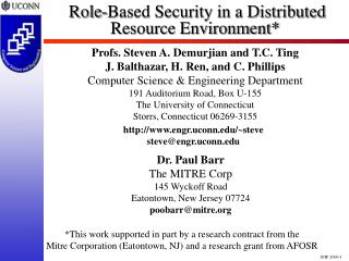 Role-Based Security in a Distributed Resource Environment*