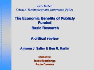 IST- MeGT Science, Tecchnology and Innovation Policy
