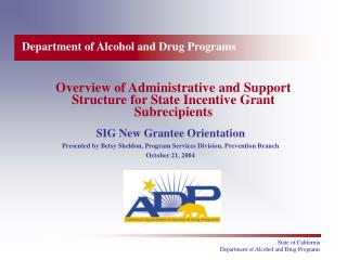 Overview of Administrative and Support Structure for State Incentive Grant Subrecipients