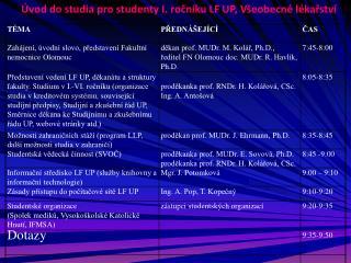 Úvod do studia pro studenty I. ročníku LF UP, Všeobecné lékařství