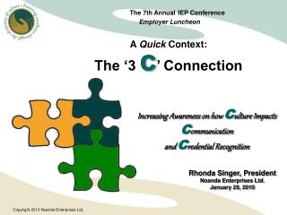 The 7th Annual IEP Conference  Employer Luncheon A  Quick  Context: The '3  C ' Connection