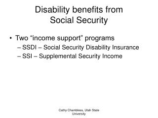Disability benefits from  Social Security