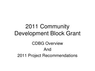 2011 Community Development Block Grant