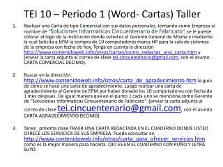 TEI 10 – Periodo 1 (Word- Cartas) Taller