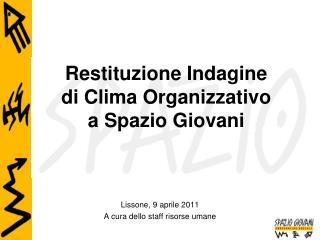 Restituzione Indagine  di Clima Organizzativo  a Spazio Giovani