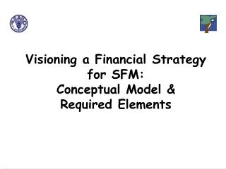 Visioning a Financial Strategy for SFM:    Conceptual Model & Required Elements