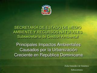 SECRETARÍA DE ESTADO DE MEDIO AMBIENTE Y RECURSOS NATURALES Subsecretaría de Gestión Ambiental
