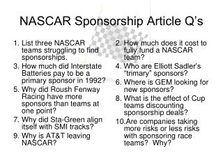 NASCAR Sponsorship Article Q's