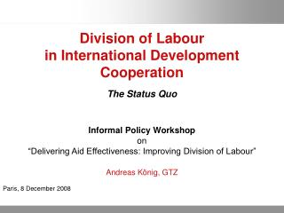 Division of Labour  in International Development Cooperation