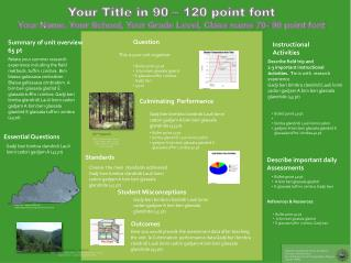Your Title in 90 – 120 point font