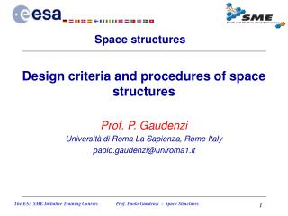 Design criteria and procedures of space structures