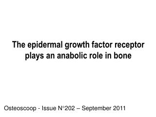 The epidermal growth factor receptor plays an anabolic role in bone
