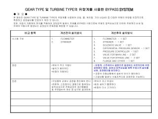 GEAR TYPE  및  TURBINE TYPE 의 유량계를 사용한  BYPASS SYSTEM