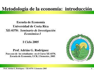 Metodología de la economía:  introducción