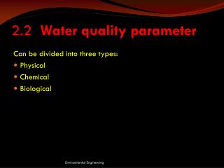 2.2   Water quality parameter