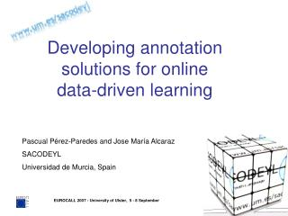 Developing annotation solutions for online  data-driven learning