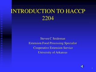 INTRODUCTION TO HACCP 2204