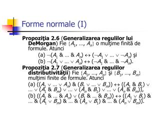 Forme normale (I)