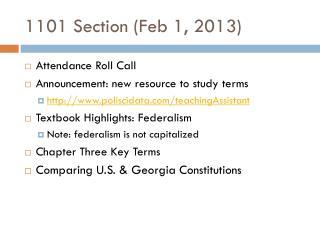1101 Section (Feb 1, 2013)