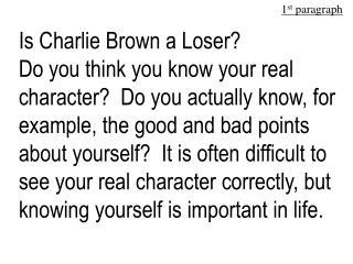 Is Charlie Brown a Loser
