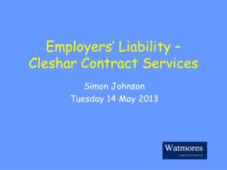 Employers' Liability –  Cleshar Contract Services
