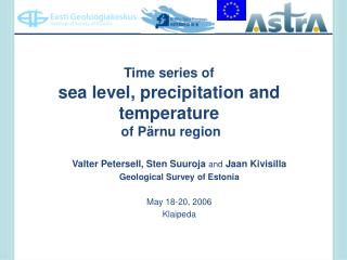 Time series of  sea level, precipitation and temperature  of P rnu region