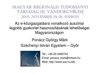 Ponácz György Márk Széchenyi István Egyetem – Győr