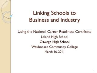 Linking Schools to Business and Industry