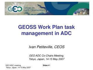 GEOSS Work Plan task management in ADC