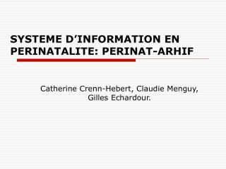 SYSTEME D'INFORMATION EN PERINATALITE: PERINAT-ARHIF