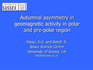 Autumnal asymmetry in geomagnetic activity in polar and pre-polar region