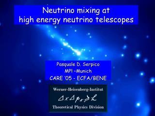 Neutrino mixing at  high energy neutrino telescopes