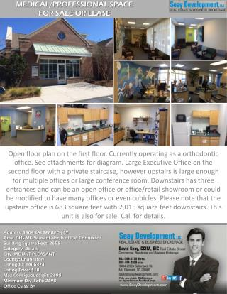 MEDICAL/PROFESSIONAL SPACE FOR SALE OR LEASE