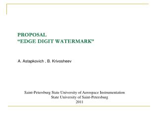 "PROPOSAL  ""EDGE DIGIT WATERMARK"""