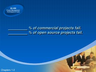 % of commercial projects fail.  % of open source projects fail.
