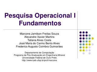 Pesquisa Operacional I Fundamentos