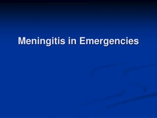 Meningitis in Emergencies