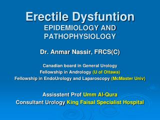 Erectile  Dysfuntion EPIDEMIOLOGY AND PATHOPHYSIOLOGY
