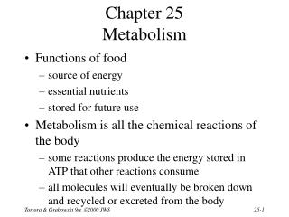 Chapter 25 Metabolism
