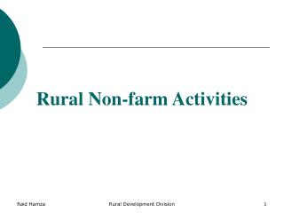 Rural Non-farm Activities