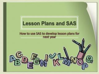 Lesson Plans and SAS
