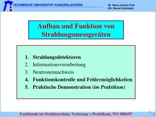 Aufbau und Funktion von Strahlungsmessger ten