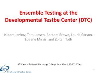 Ensemble Testing at the Developmental  Testbe  Center (DTC)