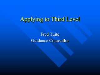 Applying to Third Level