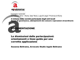 """Convegno nazionale 16 Febbraio 2012 – Roma, Sala """"Mons. Luigi Di Liegro"""" Provincia di Roma"""