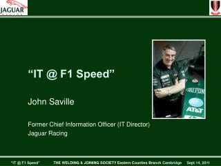 """IT @ F1 Speed"""