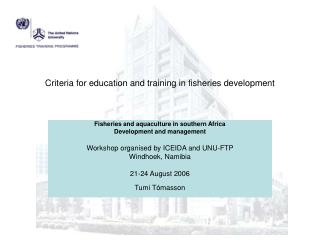 Criteria for education and training in fisheries development