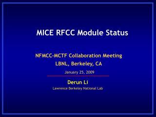 MICE RFCC Module Status