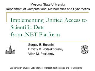 Implementing Unified Access to Scientific Data from .NET Platform